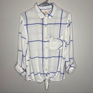 Thread & Supply Button Down Flannel Tied Shirt LG